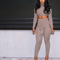 Khaki Long Sleeve Cropped Top and High Waisted Pants