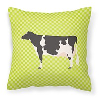 Holstein Cow Green Fabric Decorative Pillow BB7648PW1414