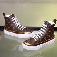 LV fashion hot selling men and women casual patchwork color thick soles high-top board shoes
