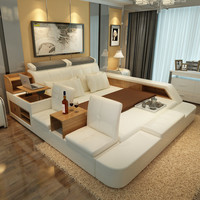 bedroom furniture sets modern leather queen size storage bed frame with side storage cabinets chairs stool no mattress