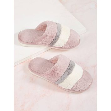 Striped Fluffy Slippers