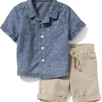 Chambray Shirt & Linen-Blend Shorts Set for Baby | Old Navy