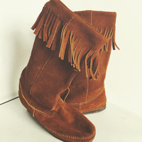 Vintage Bohemian Minnetonka Tall Leather Suede Fringe Boots Womens Hippie Calf Height Moccasins Size 8-8.5
