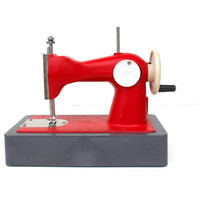 Red Soviet Vintage Kids Sewing Machine Working Toy Kids Room Decor Collectibles Toys USSR 70s