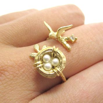 Sparrow and Bird Nest on A Branch Wrap Around Adjustable Ring in Gold