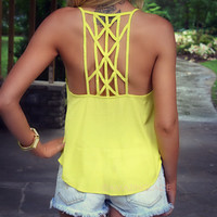 Daybreak Yellow Cage Back Top