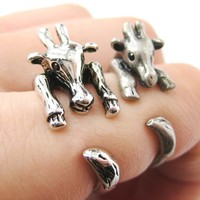 Large Giraffe Animal Wrap Around Ring in Shiny Silver - Sizes 4 to 9 Available