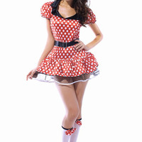 Red And White Polka Dots Mini  Mouse Costume With Built-In Petticoat