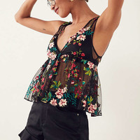 Ecote Veita Embroidered Floral Mesh Peplum Tank Top | Urban Outfitters