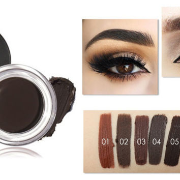 Pro Makeup Eyebrow Cream 5 Colors Waterproof Eye Brow Filler Eyebrow Gel Brown Color [9595488207]