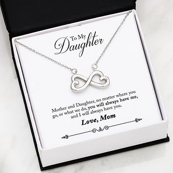 To Daughter From Mom - Infinity Hearts Necklace