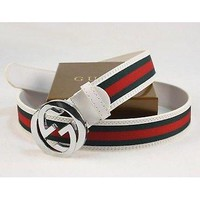 Gucci Green-Red-Green Silver Buckle White Leather Belt