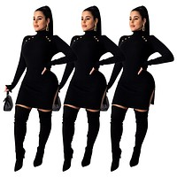 fhotwinter19 Women's casual fashion solid color pit stripe high neck micro flared sleeve dress