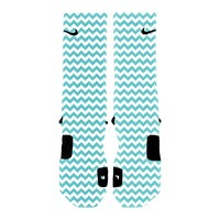 HoopSwagg Chevron Turquoise Custom Elite Socks Large Multi