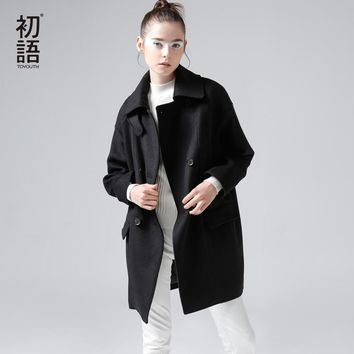 Toyouth Winter New Brief Cocoon Wool Blends Women Long Woolen Coats Loose Casual Trench Coats