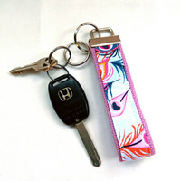 Dark Blue Pink & Orange Peacock Feathers Key Fob Wristlet, with Lavender Cotton Webbing and Key Ring Key Chain Wristlet Strap Lanyard Handle
