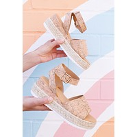 Leading Platform Espadrille, Natural Cork