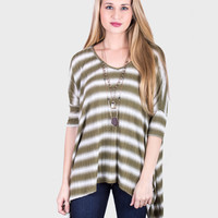 Striped Rib Knit Top