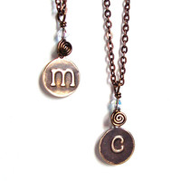 Customized monogrammed initial letter necklace - antiqued brass initial necklace - monogrammed charm necklace by Sparkle City Jewelry