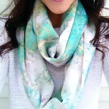 On Sale- Mint Julep Watercolor Infinity Scarf