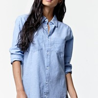 Young & Reckless Come Thru Chambray Button-Down Shirt - Womens Shirts - Blue