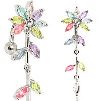 316L Surgical Steel Multi-Jointed Flower Top Down Navel Ring