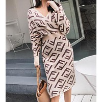 FENDI Newest Popular Women Temperament V Collar Hight Waist Knit Double F Letter Jacquard Long Sleeve Dress Apricot