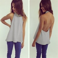 Women Fashion Sexy Backless Sleevelss Halter 3 Colors Tank Top Shirt