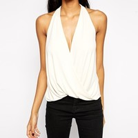 ASOS Crepe Wrap Vest with Strap Detail