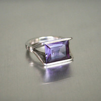Vintage Modernist Sterling Silver Amethyst Glass Ring
