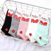Rei Kawakubo ladies fashion printed socks a box of five pairs of high quality and low price