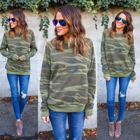 Camo Pullover - Womens Long Sleeve Camo Hoodie Sweatshirt Pullover Top Casual Blouse Jumper Coat