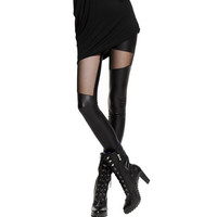 S-XL  Sexy Women Leather Stitching Leggings Fashion Lace Black Leggings For Women Plus Size Leather Legging Punk Gothic Rock