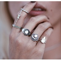 Moon joint ring speed sell through retro gold and silver cat cat jewelery five sets