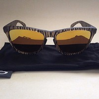$140 New Authentic Oakley Frogskins Sunglasses Urban Jungle Gold Mirror Brown