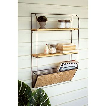 Metal & Wood Wall Shelf With Woven Bamboo Magazine Rack