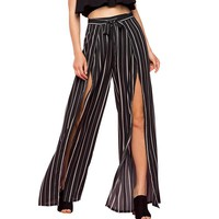 Wide Leg High Fashion Stripe Women Pants High Split Pants High Waist Bow Sexy Casual Long Trousers Plus Size