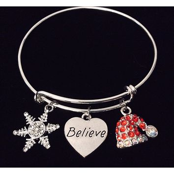 Believe in Christmas Expandable Charm Bracelet Adjustable Silver Stackable Bangle Trendy One Size Fits All Gift