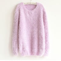 Korea Style Loose Mohair Women's Round Neck Knitting Sweater
