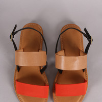 Two Tone Double Band Slingback Flat Sandal
