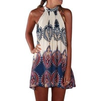Sexy Summer Beach Style Womens Loose Fashion Multicolor Sleeveless Halter Geometric Print Vintage Paisley Short Dress Vestido