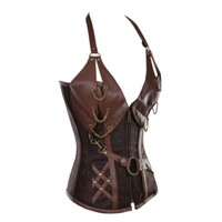 Brown Corset with Faux Leather Halterneck
