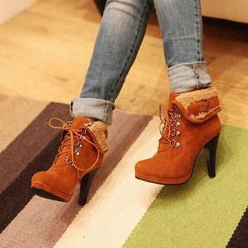 Women Ankle Boots Lace Up Buckle High Heels Shoes Woman 2016 3556