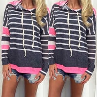 Casual Womens Pullover Jumper Hoodie Long Sleeve Hooded Coat Sweatshirt Top = 1929768068