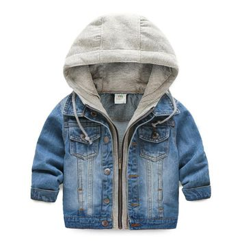 Trendy 2018 casual spring children clothing kids denim jacket hooded fake two piece baby boy jeans jackets and coats children outerwear AT_94_13