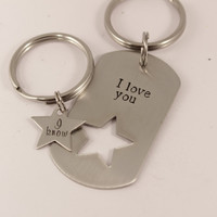 I love you I know - dog tag with star cut out & star set