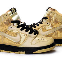 nike dunk high tops gold sand for girls