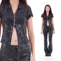 90's Sequin Open Front Top Club Kid Raver Clothing Top Black Tight Bodycon Glitter Sparkle Blouse Womens Size S//XS