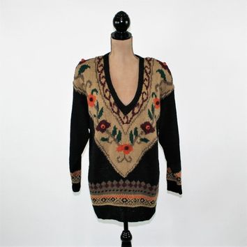 80s Oversized Sweater Women Pullover Long Chunky Embroidered Brown Sweater Cotton V Neck Tunic Sweater Fall Winter Sweater Vintage Clothing