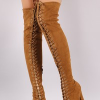 Suede Lace Up Almond Toe Chunky Heeled Over-The-Knee Boots